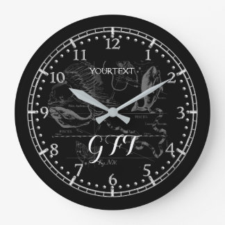 Personalized Vintage Pisces Constellation Zodiac Wall Clocks