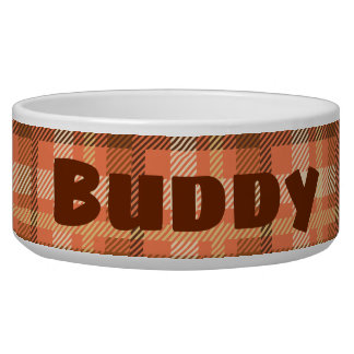 Personalized Vintage Plaid Dog Bowl