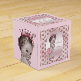 Personalized Vintage Princess Baby Roses Thank You Favour Box