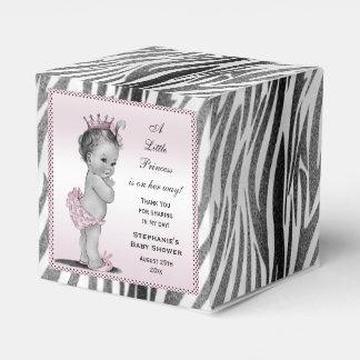 Personalized Vintage Princess Baby Shower Zebra Party Favor Boxes
