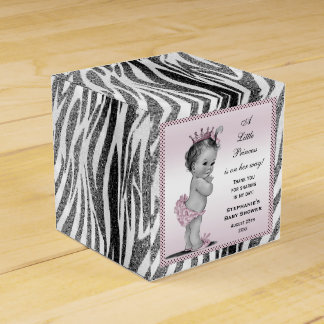 Personalized Vintage Princess Baby Shower Zebra Party Favor Boxes