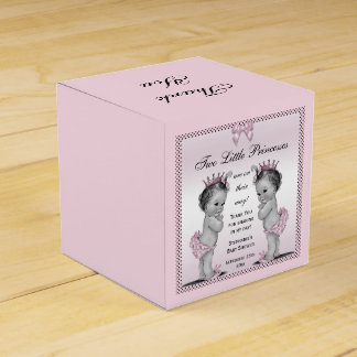 Personalized Vintage Princess Twins Baby Shower Wedding Favor Box