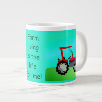 Personalized Vintage Red Farm Tractor Large Coffee Mug