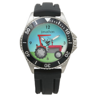 Personalized Vintage Red Farm Tractor Wristwatch