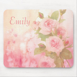 Personalized Vintage Rose Floral Mouse Pad