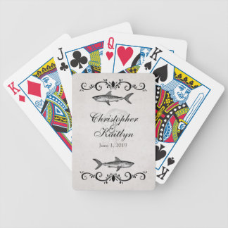 Personalized Vintage Shark Jellyfish Wedding Bicycle Playing Cards