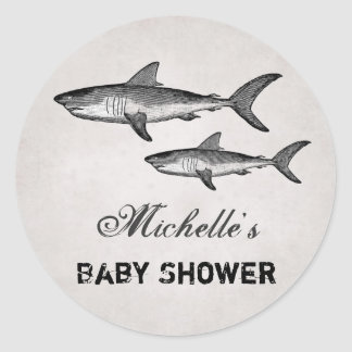 Personalized Vintage Sharks Beach Baby Shower Classic Round Sticker