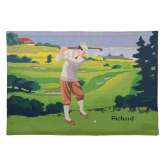 Personalized Vintage Style Highlands Golfing Scene Placemat