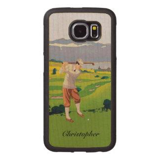 Personalized Vintage Style Highlands Golfing Scene Wood Phone Case