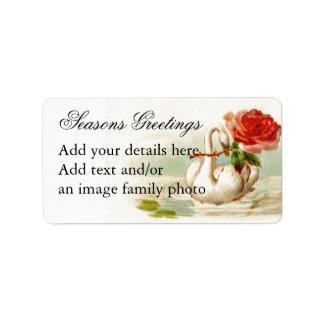 Personalized Vintage Swan Rose Art Return address Address Label
