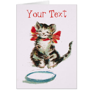 Personalized Vintage Tabby Kitty Cat Greeting Card