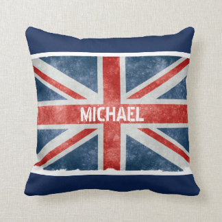 Personalized Vintage Union Jack Flag Throw Pillow