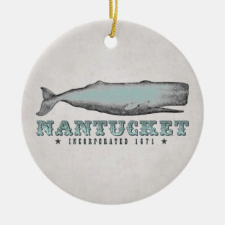 Personalized Vintage Whale Nantucket Massachusetts Ceramic Ornament