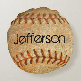 Personalized Vintage White Baseball red stitching Round Cushion