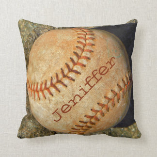 Personalized vintage White softball red stitching Throw Pillow