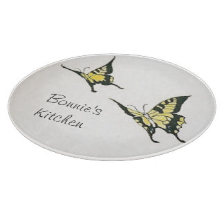 Personalized Vintage Yellow Black Butterflies Cutting Board
