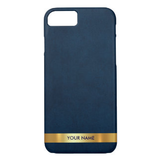 Personalized Vip Blue Marine Golden Stripe Case
