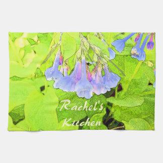 Personalized Virginia Blue Bells Flower Tea Towel