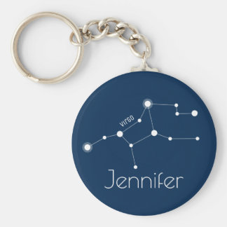 Personalized Virgo Zodiac Constellation Key Ring