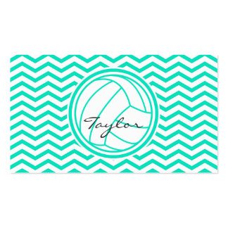 Personalized Volleyball Aqua Green Chevron Business Card
