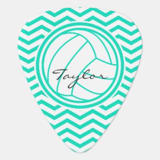 Personalized Volleyball; Aqua Green Chevron Plectrum