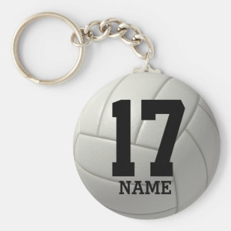 Personalized Volleyball (name & number) Basic Round Button Key Ring