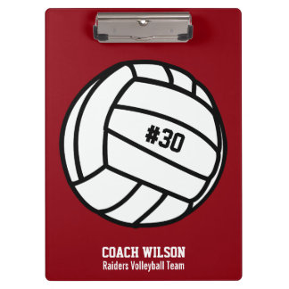 Personalized Volleyball Team, Player Name & Number Clipboard