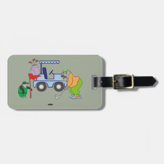 Personalized Walrus Golf Penguin Caddie Luggage Tag