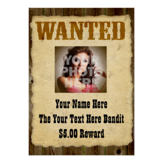 Personalized Wanted Old-Time Photo Posters