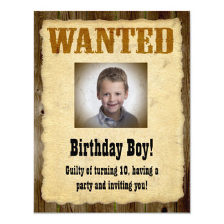 Personalized Wanted Poster, Birthday Bandit 11 Cm X 14 Cm Invitation Card