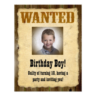 Personalized Wanted Poster Birthday Bandit Custom Invites