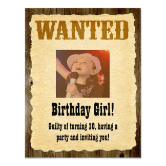 Personalized Wanted Poster, Western Style Birthday 11 Cm X 14 Cm Invitation Card