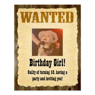 Personalized Wanted Poster Western Style Birthday Personalized Announcement