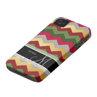 Personalized Warm Chevron Pattern with monogram iPhone 4 Covers