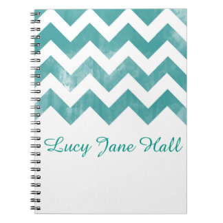 Personalized Watercolor Chevron Notebook