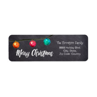 Personalized, Watercolor Christmas ball On black Return Address Label