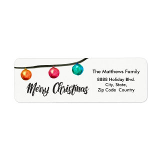 Personalized, Watercolor Christmas ball Ornaments Return Address Label