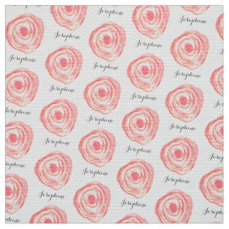 Personalized Watercolor Coral Pink Flower Fabric