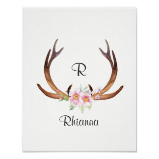 Personalized Watercolor Deer Antler with Flower Poster