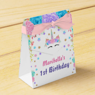 Personalized Watercolor Floral Unicorn Birthday Favour Box