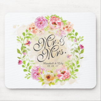 Personalized Watercolor Floral Wedding | Mousepad