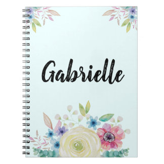 Personalized Watercolor Flower Design Notebook