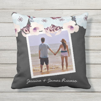 Personalized Watercolor Flowers Outdoor Cushion