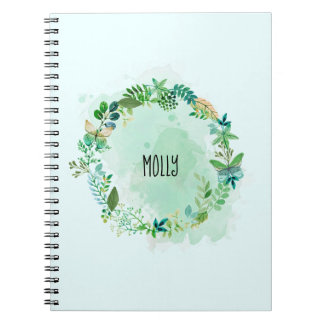 Personalized Watercolor Green Plant Wreath Notebook