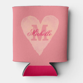 Personalized watercolor heart monogram can cooler