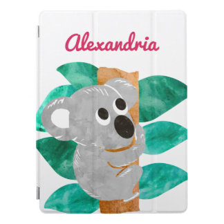 Personalized Watercolor Koala Bear Animal Girls iPad Pro Cover