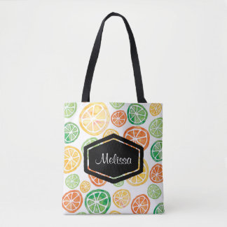 Personalized watercolor lemons limes tote bag