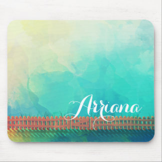 Personalized Watercolor Picket Fence | Mousepad