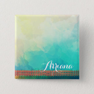 Personalized Watercolor Picket Fence Pin Button