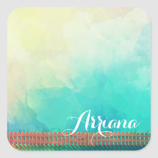 Personalized Watercolor Picket Fence Sticker Seal